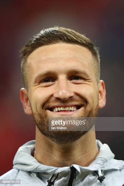 Shkodran Mustafi of Germany line up prior to the FIFA Confederations Cup Russia 2017 Group B match between Germany and Chile at Kazan Arena on June...