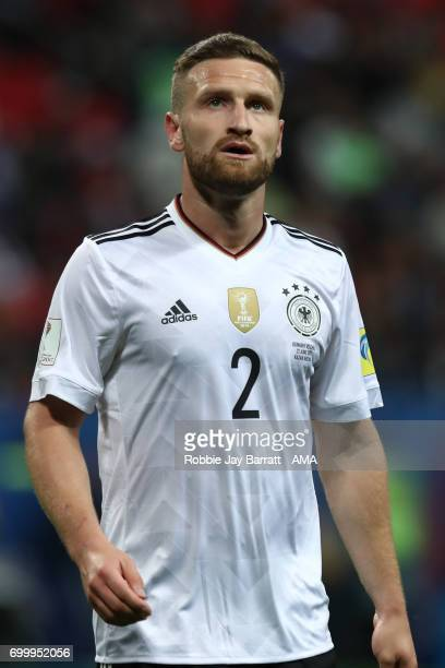 Shkodran Mustafi of Germany looks on during the FIFA Confederations Cup Russia 2017 Group B match between Germany and Chile at Kazan Arena on June 22...