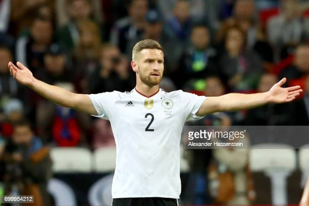 Shkodran Mustafi of Germany reacts during the FIFA Confederations Cup Russia 2017 Group B match between Germany and Chile at Kazan Arena on June 22...