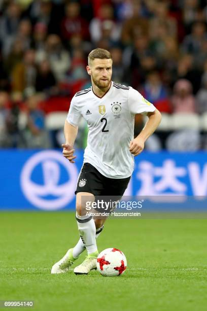 Shkodran Mustafi of Germany runs with the ball during the FIFA Confederations Cup Russia 2017 Group B match between Germany and Chile at Kazan Arena...