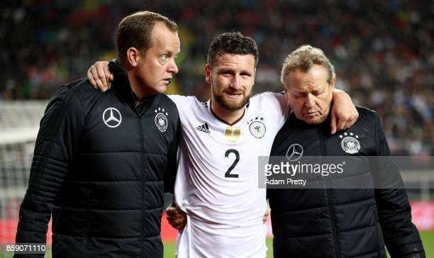 Shkodran Mustafi of Germany walks off the field during the FIFA 2018 World Cup Qualifier between Germany and Azerbaijan at FritzWalterStadion on...