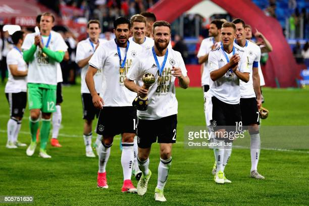 Shkodran Mustafi of Germany with the FIFA Confederations Cup trophy after the FIFA Confederations Cup Russia 2017 Final match between Chile and...