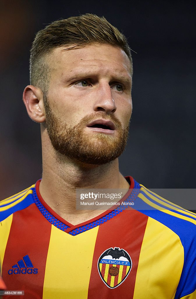 Shkodran Mustafi of Valencia looks on during the pre-season friendly match between Valencia CF and AS Roma at Estadio Mestalla on August 8, 2015 in Valencia, Spain.
