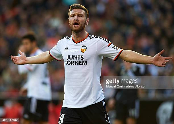 Shkodran Mustafi of Valencia reacts during the La Liga match between Valencia CF and Real Madrid CF at Estadi de Mestalla on January 4 2015 in...