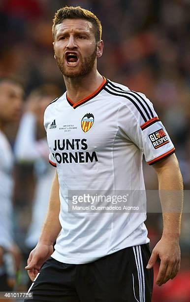 Shkodran Mustafi of Valencia reacts during the La Liga match between Valencia CF and Real Madrid CF at Estadi de Mestalla on January 4 2015 in...