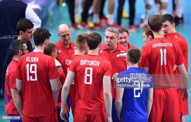 Shliapnikov Sergey Kliuka Egor Biriukov Denis during the FIVB Volleyball World League 2017 match between Poland and Russia at Spodek on June 15 2017...
