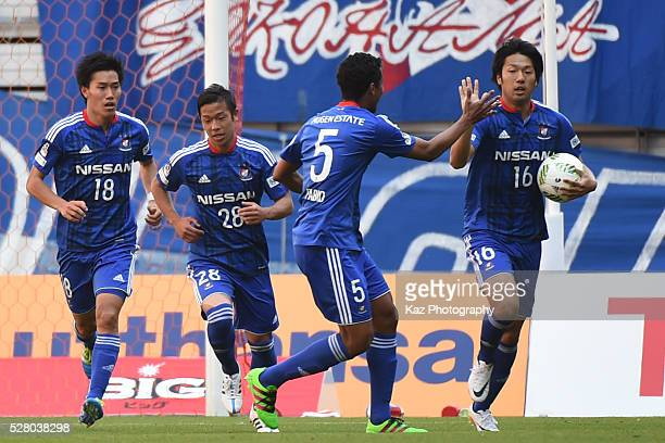 Sho Ito of Yokohama FMarinos celebrates the 1st goal with Fabio of Yokohama FMarinos during the JLeague match between Nagoya Grampus and Yokohama...