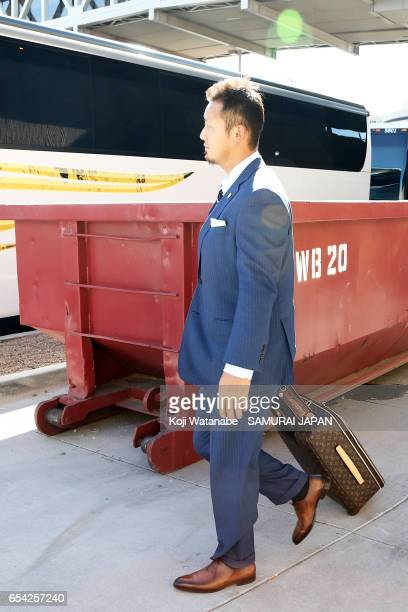 Sho Nakata of Japan arrives at a hotel ahead of the World Baseball Classic Championship Round on March 16 2017 in Phoenix Arizona