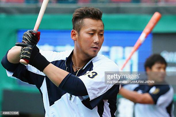 Sho Nakata of Japan at bat during a warm up prior to the WBSC Premier 12 match between Mexico and Japan at the Tianmu Baseball Stadium on November 11...