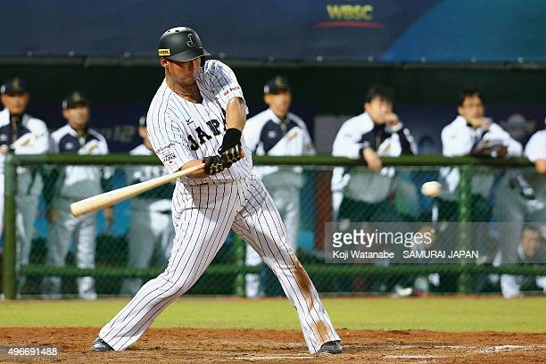 Sho Nakata of Japan hits the game winning single in the bottom of ninth inning during the WBSC Premier 12 match between Mexico and Japan at the...