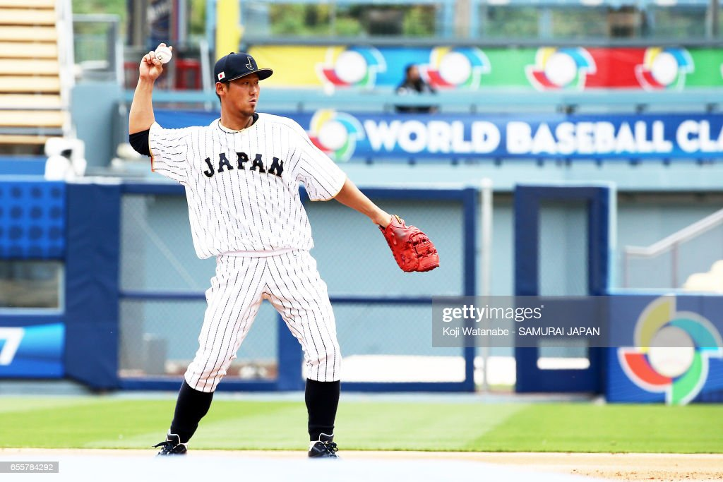 Sho Nakata #13 of Japan in action during a training session ahead of the World Baseball Classic Championship Round at Dodger Stadium on March 20, 2017 in Los Angeles, California.