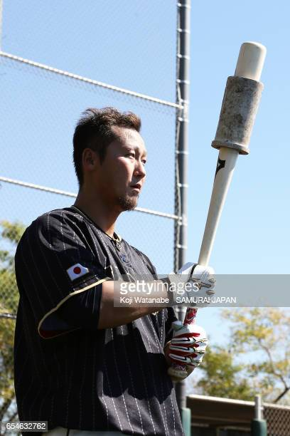 Sho Nakata of Japan in action during a workout ahead of the World Baseball Classic Championship Round at Camelback Ranch on March 17 2017 in Glendale...