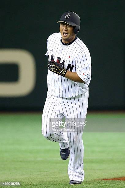 Sho Nakata of Samurai Japan heads home after hitting tworun homer in the third inning during the game three of Samurai Japan and MLB All Stars at...