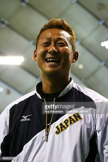 Sho Nakata of Samurai Japan looks on Samurai Japan v All Euro match at the Tokyo Dome on March 11 2015 in Tokyo Japan