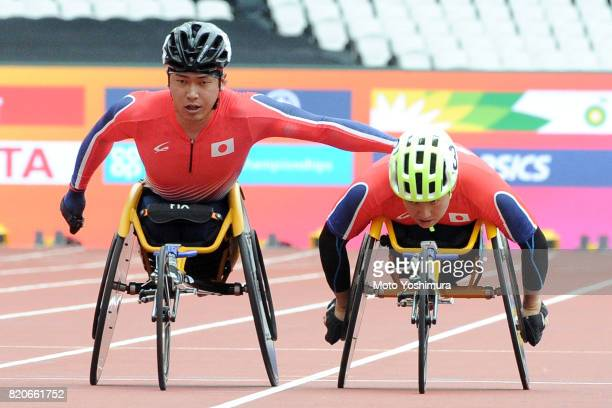 Sho Watanabe and Yuki Nishi of Japan compete in the Men's 4×400m Relay T53/54 exhibition race during day six of the IPC World ParaAthletics...