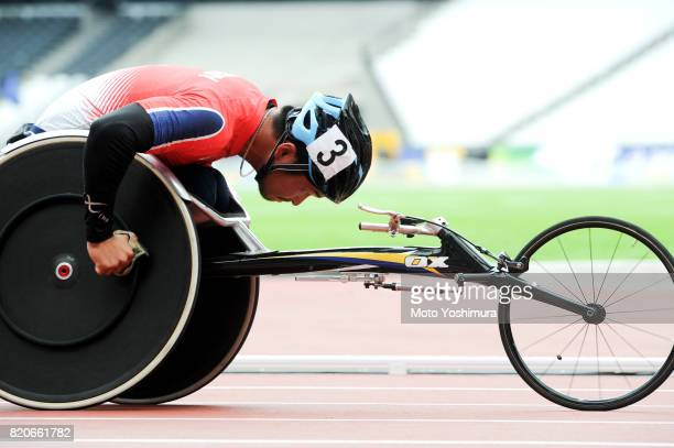 Sho Watanabe of Japan competes in the Men's 4×400m Relay T53/54 exhibition race during day six of the IPC World ParaAthletics Championships 2017 at...
