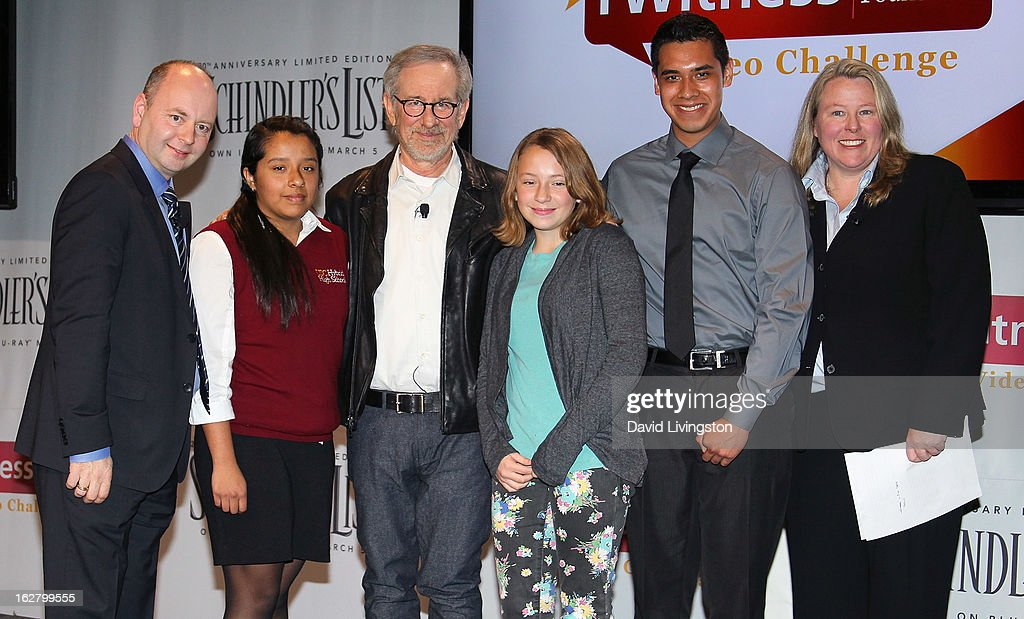 USC Shoah Foundation Executive Director Dr. Stephen Smith, student, director <a gi-track='captionPersonalityLinkClicked' href=/galleries/search?phrase=Steven+Spielberg&family=editorial&specificpeople=202022 ng-click='$event.stopPropagation()'>Steven Spielberg</a>, students and USC Shoah Foundation Director of Education Dr. Kori Street attend the 'Schindler's List' 20th Anniversary Limited Edition DVD/Blu-ray & USC Shoah Foundation's IWitness Video Challenge launch event at The Chandler School on February 27, 2013 in Pasadena, California.
