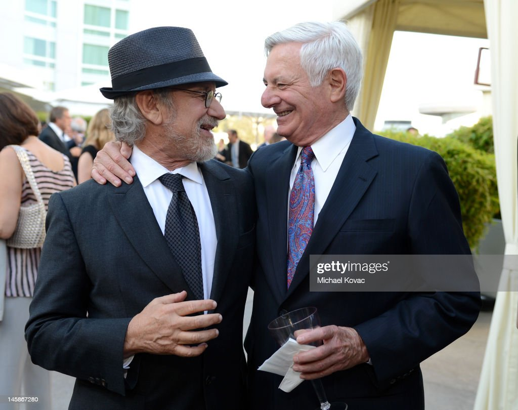 Shoah Foundation founder <a gi-track='captionPersonalityLinkClicked' href=/galleries/search?phrase=Steven+Spielberg&family=editorial&specificpeople=202022 ng-click='$event.stopPropagation()'>Steven Spielberg</a> and Guest attend the USC Shoah Foundation Institute Ambassadors for Humanity Gala held at the Grand Ballroom at Hollywood & Highland Center on June 6, 2012 in Hollywood, California.