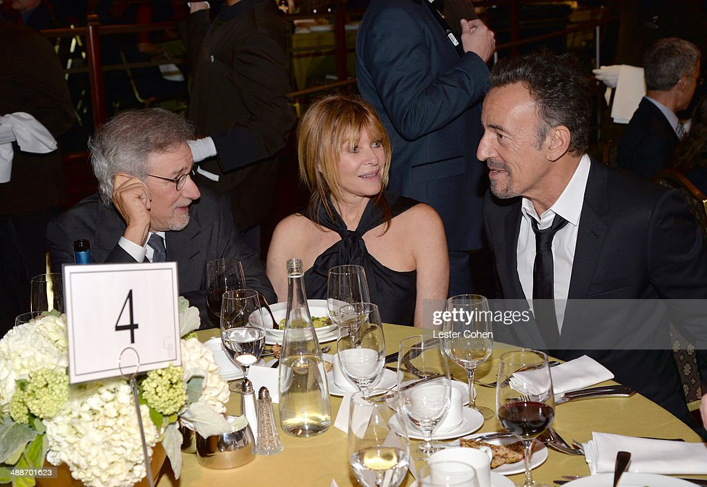 USC Shoah Foundation Honorary Chair Steven Spielberg, actress Kate Capshaw and musician Bruce Springsteen attend USC Shoah Foundation's 20th Anniversary Gala at the Hyatt Regency Century Plaza on May 7, 2014 in Century City, California.