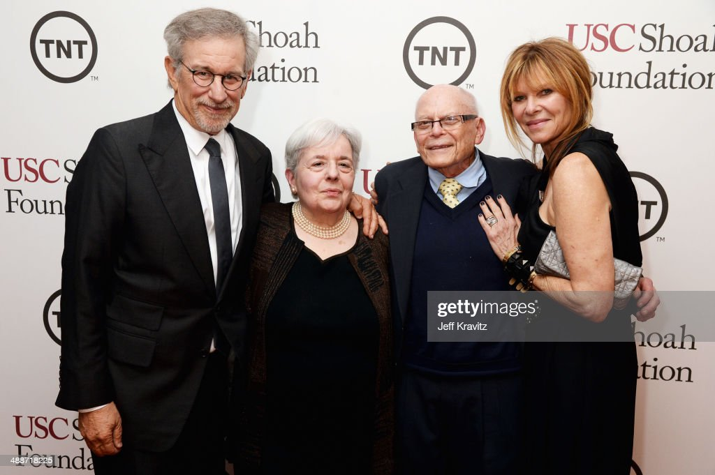 USC Shoah Foundation Honorary Chair Steven Spielberg, Carol Levy, DreamWorks Studios' Marvin Levy, and actress Kate Capshaw attend USC Shoah Foundation's 20th Anniversary Gala at the Hyatt Regency Century Plaza on May 7, 2014 in Century City, California.