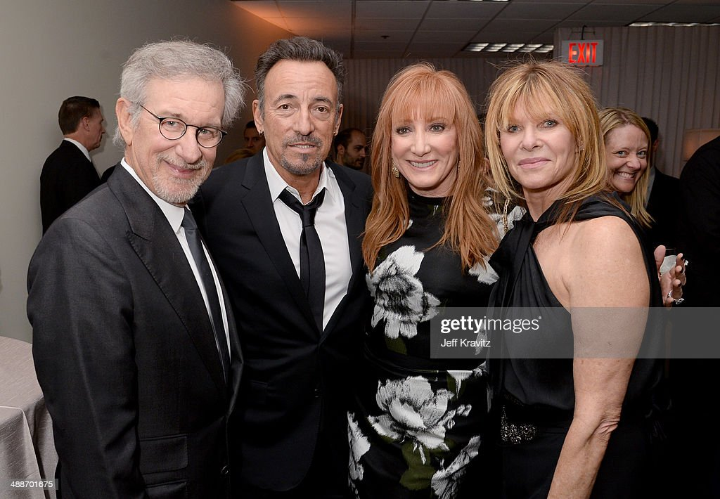 USC Shoah Foundation Honorary Chair <a gi-track='captionPersonalityLinkClicked' href=/galleries/search?phrase=Steven+Spielberg&family=editorial&specificpeople=202022 ng-click='$event.stopPropagation()'>Steven Spielberg</a>, musicians <a gi-track='captionPersonalityLinkClicked' href=/galleries/search?phrase=Bruce+Springsteen&family=editorial&specificpeople=123832 ng-click='$event.stopPropagation()'>Bruce Springsteen</a> and <a gi-track='captionPersonalityLinkClicked' href=/galleries/search?phrase=Patti+Scialfa&family=editorial&specificpeople=228282 ng-click='$event.stopPropagation()'>Patti Scialfa</a>, and actress <a gi-track='captionPersonalityLinkClicked' href=/galleries/search?phrase=Kate+Capshaw&family=editorial&specificpeople=204585 ng-click='$event.stopPropagation()'>Kate Capshaw</a> attend USC Shoah Foundation's 20th Anniversary Gala at the Hyatt Regency Century Plaza on May 7, 2014 in Century City, California.