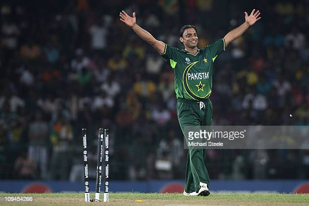 Shoaib Akhtar of Pakistan celebrates bowling Thisara Perera of Sri Lanka during the Pakistan v Sri Lanka 2011 ICC World Cup Group A match at the R...
