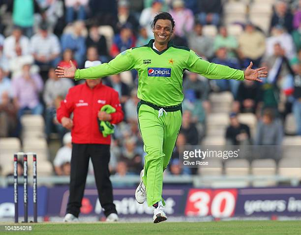 Shoaib Akhtar of Pakistan celebrates the wicket of Luke Wright of England during the 5th NatWest One Day International between England and Pakistan...
