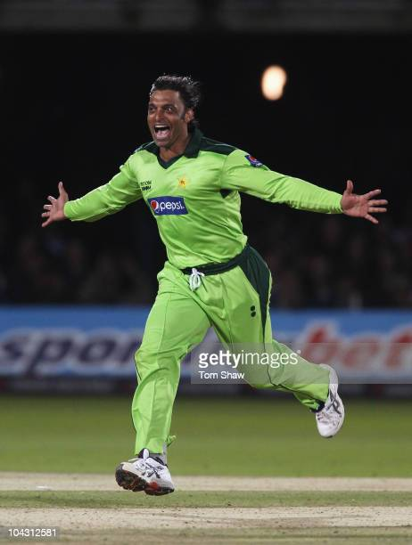 Shoaib Akhtar of Pakistan celebrates the wicket of Michael Yardy of England during the 4th NatWest One Day International between England and Pakistan...