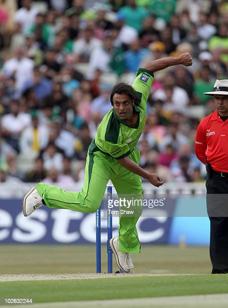 Shoaib Akhtar of Pakistan hits out during the International Twenty20 match between Pakistan and Australia at Edgbaston on July 5 2010 in Birmingham...