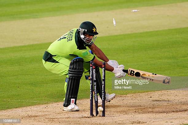 Shoaib Akhtar of Pakistan is bowled out by Tim Bresnan of England during the 2nd NatWest T20 International match between England and Pakistan at the...