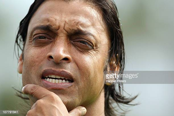 Shoaib Akhtar of Pakistan looks on before game two of the Twenty20 series between New Zealand and Pakistan at Seddon Park on December 28 2010 in...