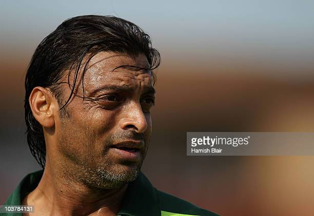 Shoaib Akhtar of Pakistan looks on during the One Day Tour Match between Somerset and Pakistan played at The County Ground on September 2 2010 in...