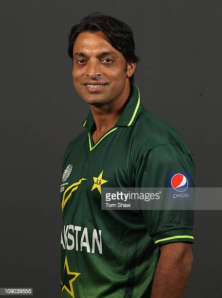 Shoaib Akhtar of Pakistan poses for a portrait during the Pakistan Portrait session at the Sheraton Hotel on February 13 2011 in Dhaka Bangladesh