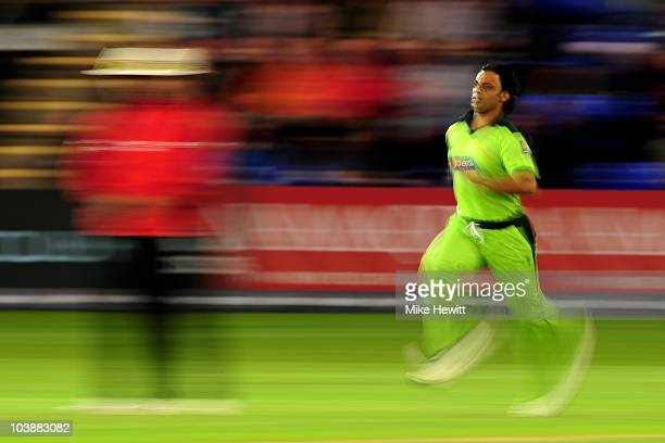 Shoaib Akhtar of Pakistan runs in to bowl a delivery during the 2nd NatWest T20 International match between England and Pakistan at the Swalec...