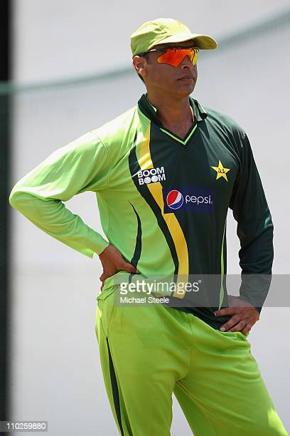 Shoaib Akhtar of Pakistan who has announced his retirement from international cricket during a nets session at the R Premadasa International Stadium...