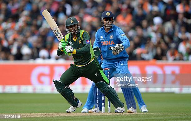 Shoaib Malik of Pakistan bats during the ICC Champions Trophy match between India and Pakiatan at Edgbaston on June 15 2013 in Birmingham England