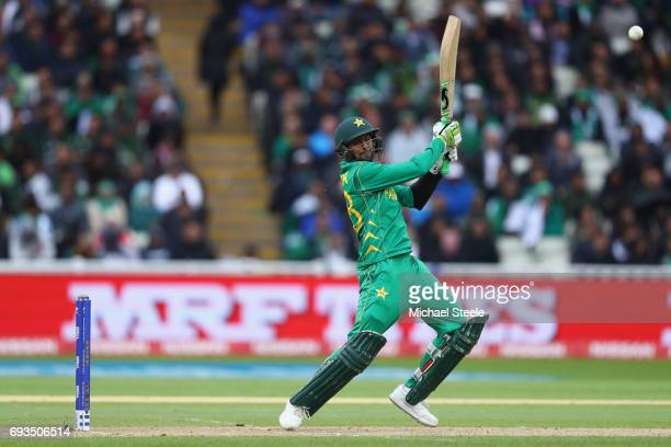 Shoaib Malik of Pakistan cuts to the offside boundary during the ICC Champions Trophy match between Pakistan and South Africa at Edgbaston on June 7...