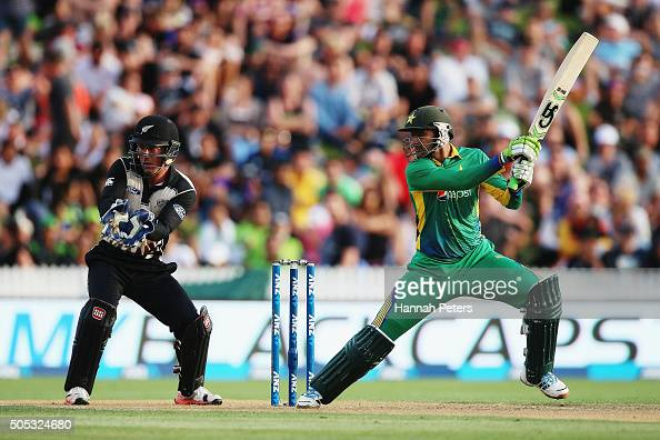 Shoaib Malik of Pakistan plays the ball away for four runs during the International Twenty20 match between New Zealand and Pakistan at Seddon Park on...
