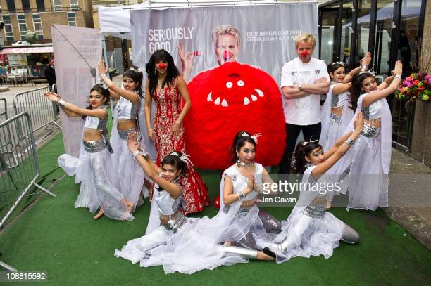 Shobna Gulati and Gordon Ramsay attend a photocall for 'Gordon Ramsay's Seriously Good' in Aid of Comic Relief on February 4 2011 in London England