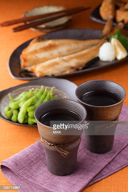 Shochu and dishes