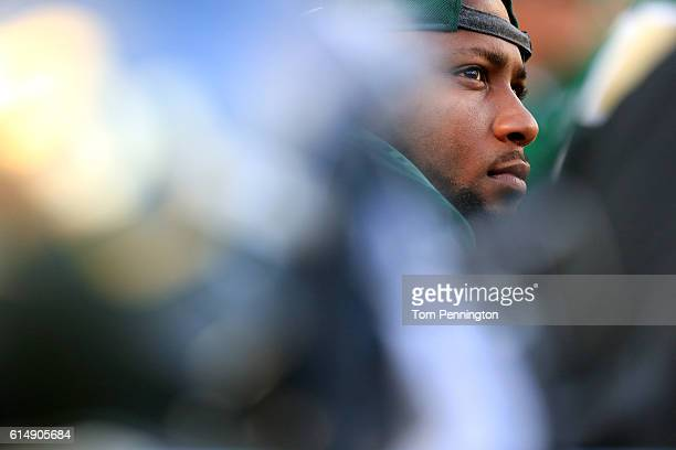 Shock Linwood of the Baylor Bears looks on as the Bears take on the Kansas Jayhawks in the fourth quarter on October 15 2016 in Waco Texas