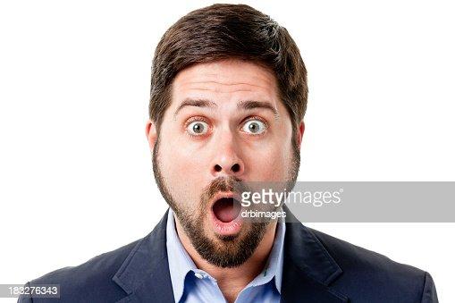 Shocked Man Gasps And Raises Eyebrows