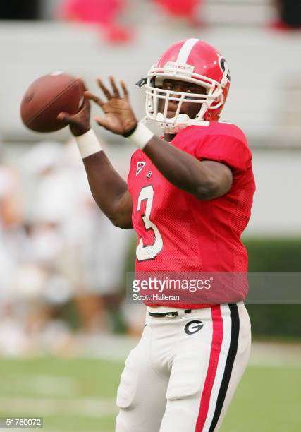 J Shockley of the Georgia Bulldogs warms up before the game against the Tennessee Volunteers at Sanford Stadium on October 9 2004 in Athens Georgia...