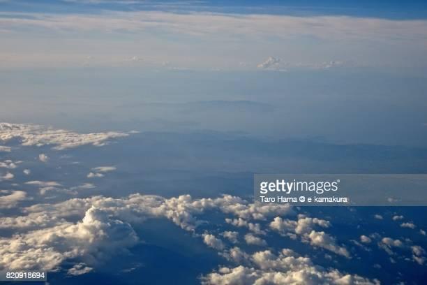 Shodoshima Island in Seto Inland Sea daytime aerial view from airplane