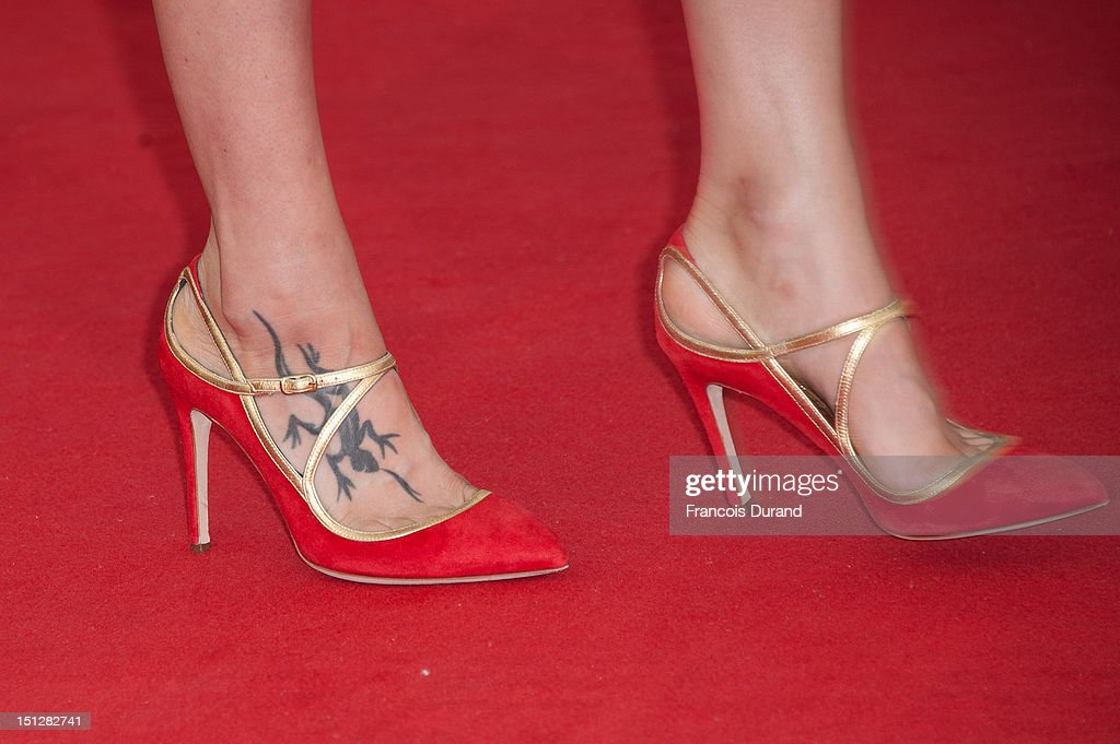 Shoe and tattoo detail of Astrid Berges-Frisbey attending the 'Lawless' Premiere during the 38th Deauville American Film Festival on September 5, 2012 in Deauville, France.