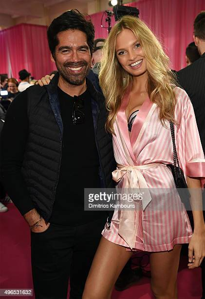 Shoe designer Brian Atwood and Romee Strijd are seen backstage before the 2015 Victoria's Secret Fashion Show at Lexington Avenue Armory on November...