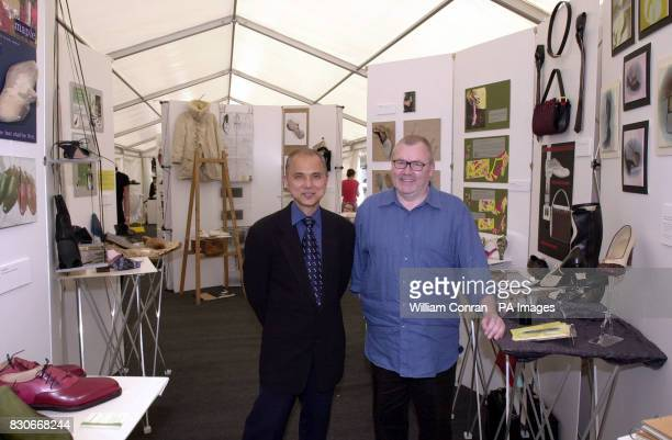 Shoe designer Jimmy Choo and Roy Peach the Dean of the London College of Fashion at a photocall at the London College of Fashion which is hosting an...