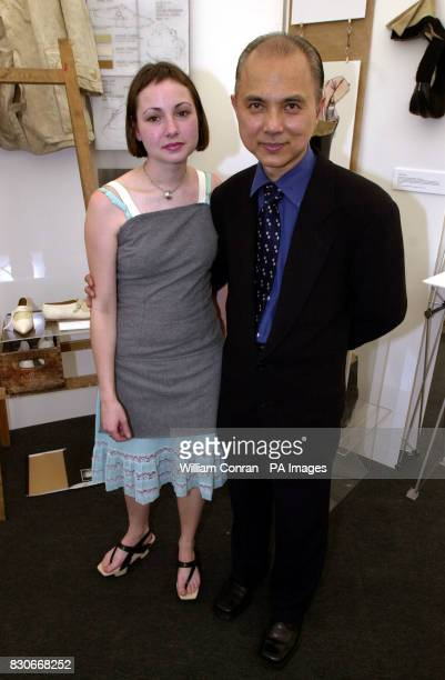 Shoe designer Jimmy Choo with student designer Sabrina de Chair during a photocall at the London College of Fashion which is hosting an exhibition...