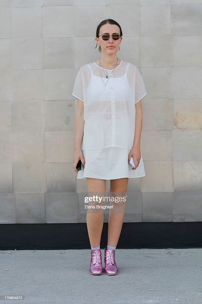 Shoe designer Licia Florio is seen at Pitti Immagine Uomo 84 on June 19 2013 in Florence Italy