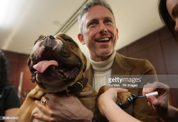 Shoe designer Patrick Cox with his dog Caesar having his nails polished during a photocall to launch The Pet Spa at Harrods in Knightsbridge west...